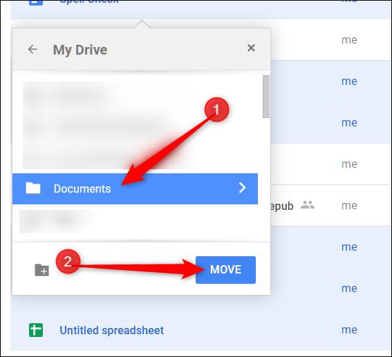 """Sélectionnez le dossier dans lequel vous souhaitez les déplacer et cliquez sur """"Déplacer""""."""