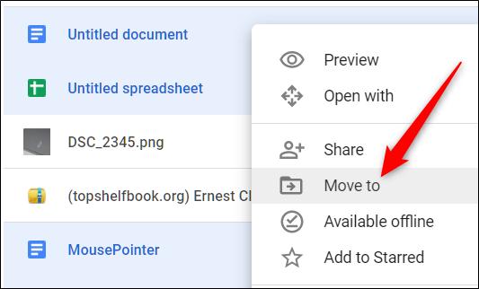 Vous pouvez également mettre en surbrillance les fichiers, cliquer dessus avec le bouton droit de la souris, puis cliquer sur «Déplacer vers».