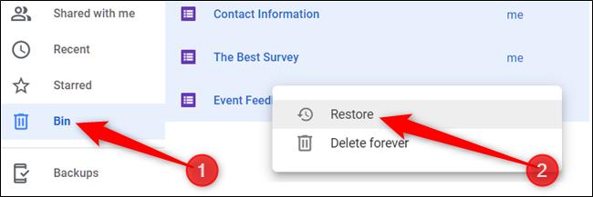 Sinon, cliquez sur «Corbeille» dans le volet de gauche, cliquez avec le bouton droit sur un fichier, puis cliquez sur «Restaurer» pour le renvoyer sur votre disque.