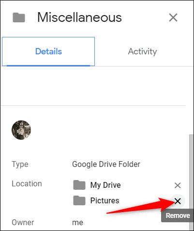 Sous «Emplacement», cliquez sur le «X» à côté du dossier auquel le fichier est lié.