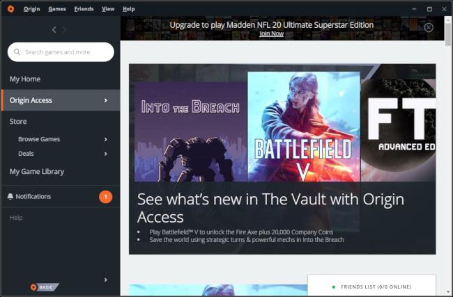 Le coffre-fort de jeux Origin Access d'EA.