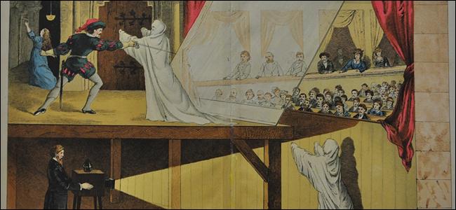 Une vieille illustration de l'astuce de Pepper's Ghost.