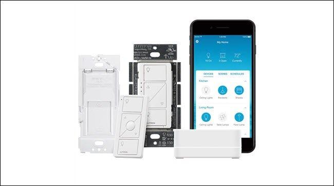 Commutateur intelligent Lutron, télécommande sans fil, application Lutron et pont intelligent.