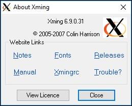 Xming à propos de la fenêtre