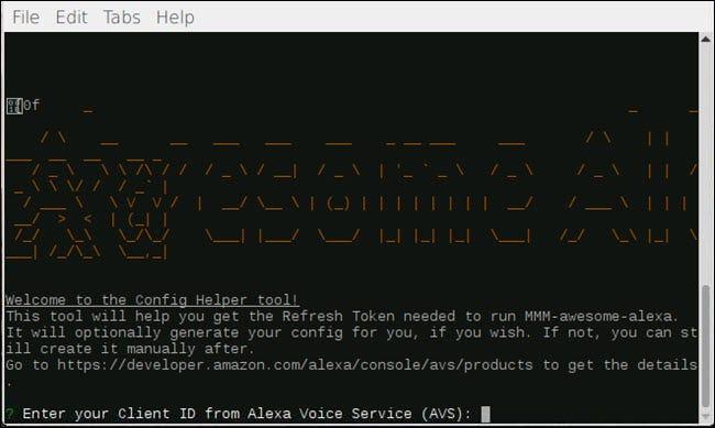 Boîte de dialogue d'aide à la configuration pour MMM-awesome-alexa
