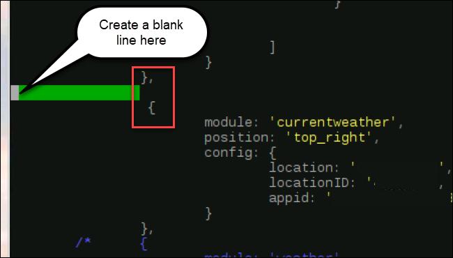 code des modules, avec une nouvelle ligne insérée après} et avant {