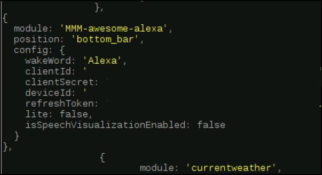 code de module inséré avec une virgule ajoutée après le crochet final