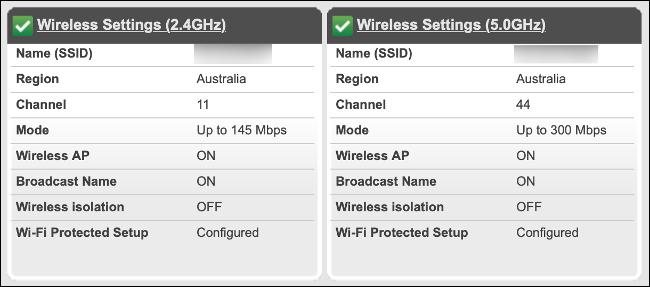 Menu du routeur avec les bandes Wi-Fi 2,4 et 5 GHz cochées.