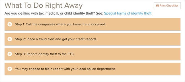 Que faire tout de suite si vous êtes victime d'une liste de contrôle de vol d'identité sur le site Web de la FTC.