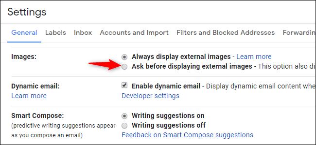 Option pour désactiver les images externes et donc le suivi des e-mails dans Gmail