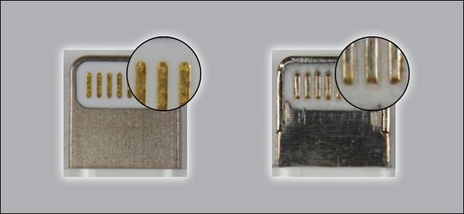 Deux câbles Lightning.  L'un est clairement fabriqué avec de meilleurs matériaux que l'autre.  Celui qui a l'air grossier n'est pas certifié MFi.