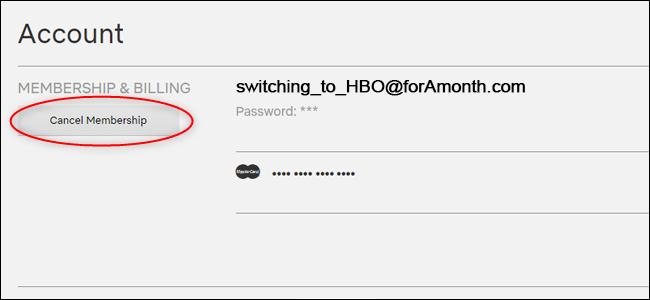 Le bouton d'annulation de l'abonnement sur le site Web de Netflix.