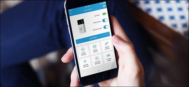 App Ring Door montrant diverses options pour interagir avec la sonnette.