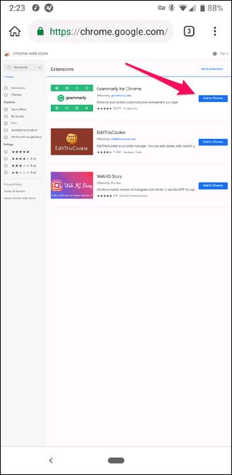 Installer des extensions Chrome dans le navigateur Kiwi