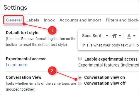 Le paramètre d'affichage des conversations dans Gmail