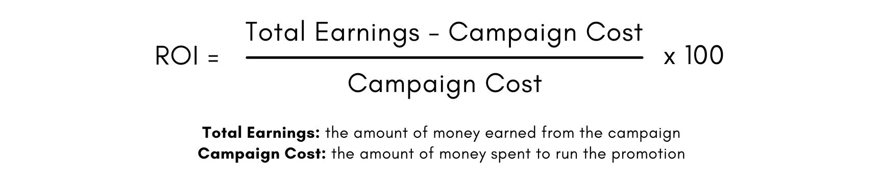 Formule pour calculer le retour sur investissement: argent total gagné moins coût global de la campagne, divisé par le coût global de la campagne, multiplié par 100.