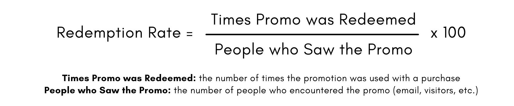 Formule pour le taux de remboursement: nombre de fois où la promotion a été utilisée divisé par le nombre de personnes qui ont vu la promotion, multiplié par 100.