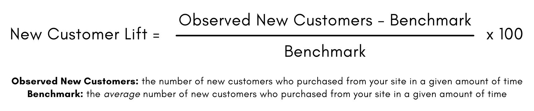 Formule pour l'augmentation de la clientèle: nombre de nouveaux clients moins l'indice de référence, divisé par l'indice de référence, multiplié par 100.