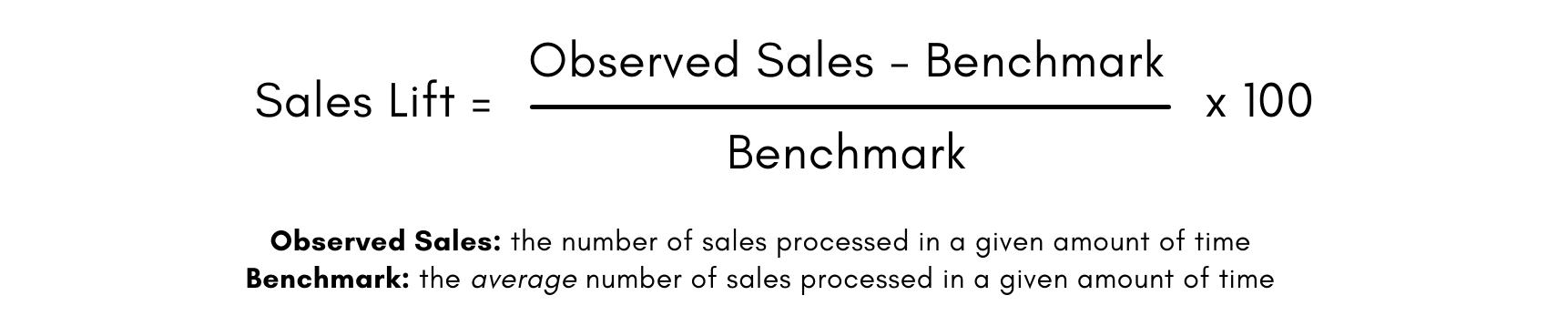 Formule d'amélioration des ventes: nombre de nouvelles ventes moins l'indice de référence, divisé par l'indice de référence, multiplié par 100.