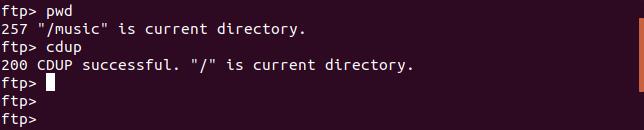 commande cdup dans une fenêtre de terminal