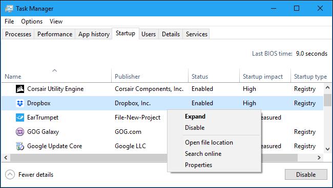 Désactivation d'une application de démarrage dans le Gestionnaire des tâches de Windows 10