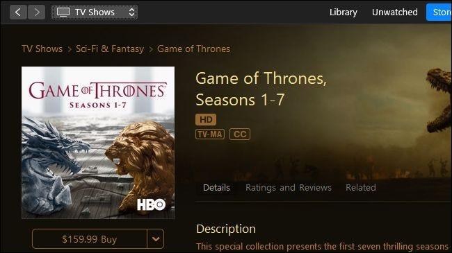 Game of Thrones en vente sur Apple iTunes