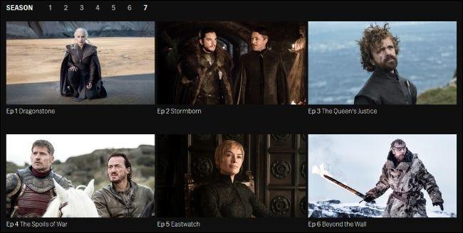 Épisodes de Game of Thrones en streaming sur le site Web de HBO