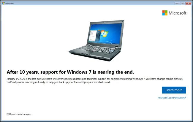 Notification de fin de vie de Windows 7