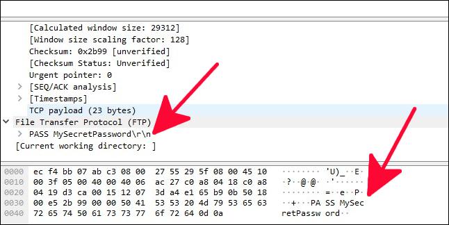 Suivi des paquets réseau avec mot de passe en texte clair