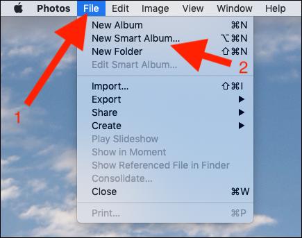 Cliquez sur Fichier puis sur Nouvel album intelligent