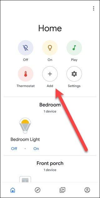 Application Assistant Google avec une flèche pointant vers le bouton d'ajout