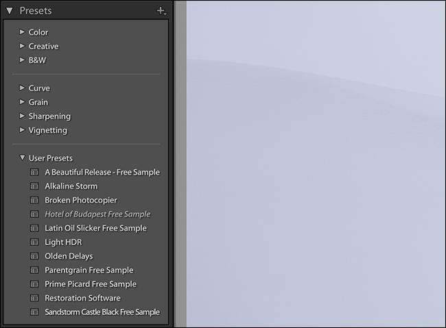 après avoir cliqué sur Installer, les préréglages sont disponibles dans la barre latérale gauche