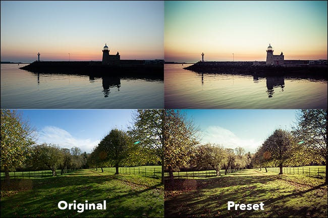 scènes de plage et de terrain, affichées avant et après l'application des préréglages