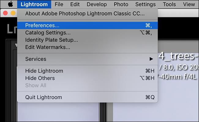 ouvrez le menu Lightroom et cliquez sur Préférences