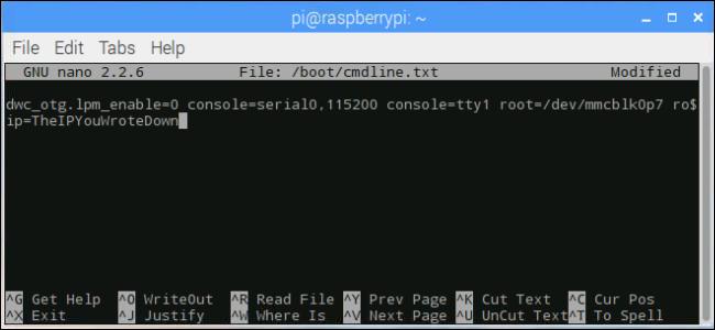 fenêtre du terminal: modification de l'adresse IP