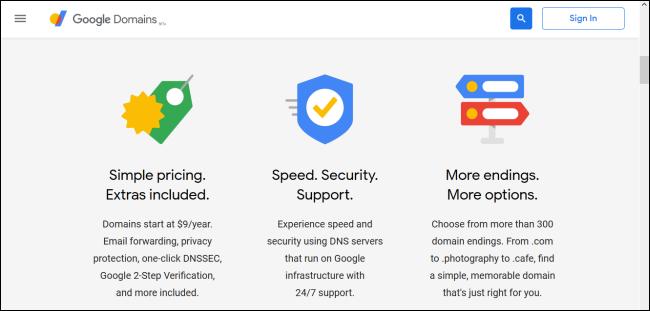 Page d'accueil de Google Domains