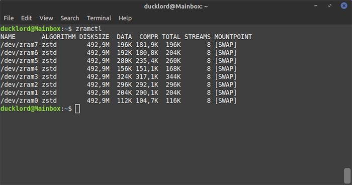 Configurer Zram sur Ubuntu Zramctl