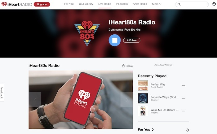 Stations de radio Web utiles Radio Iheart80s