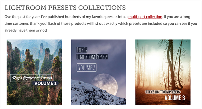 Page Web de Trey Ratcliff sur les collections de préréglages