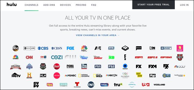 Programmation TV en direct de Hulu