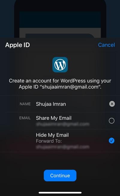 Connectez-vous avec Apple WordPress