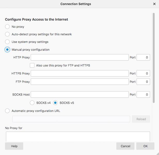 """Ouvrez Mozilla """"Paramètres de connexion"""" et sélectionnez """"Configuration manuelle du proxy."""""""