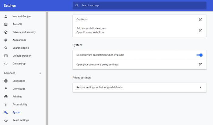 """Vous utilisez GoogleChrome?  Vous pouvez modifier ses paramètres de proxy, dans le menu """"Avancé ></noscript> Système».' class=»lazyload wp-image-348014″ title=»Proxy Tor avec Raspberry Pi Google Chrome»></source></picture><noscript><img width=""""700"""" height=""""411"""" alt="""