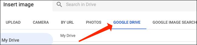 """Cliquez sur """"Google Drive"""" pour sélectionner des images à partir de là pour Google Sheets."""