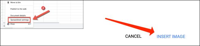 """Cliquez sur """"Insérer une image"""" pour ajouter une image dans une cellule de Google Sheets."""