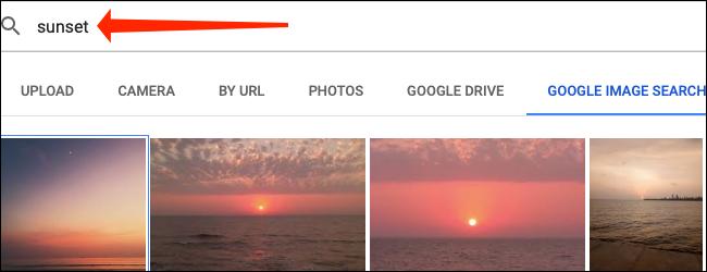 Utilisez le champ de recherche pour trouver une image de Google Images dans Google Sheets.