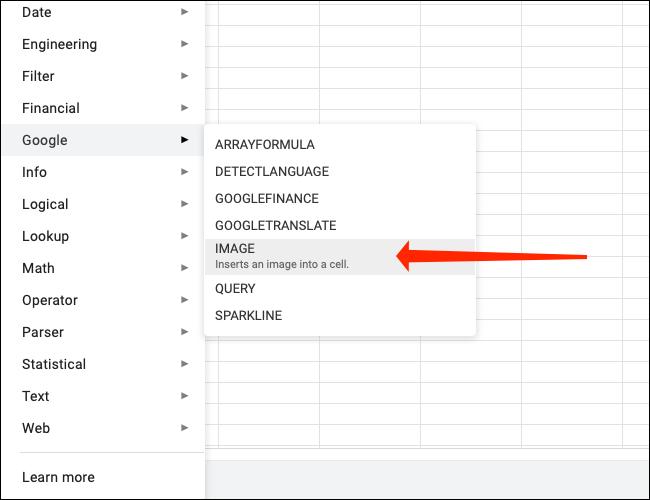 """Cliquez sur """"Image"""" pour utiliser la fonction Image dans Google Sheets."""