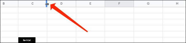 Ajustez la taille de la colonne dans Google Sheets.
