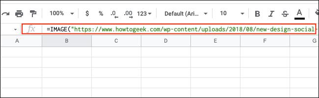 La barre de formule dans Google Sheets.