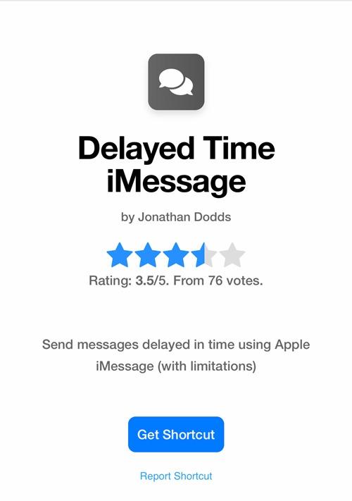 Planifier le raccourci de téléchargement de message texte